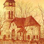 zu sehen ist eine Bleistiftzeichnung der evangelischen Kirche von R. N. Fellinger
