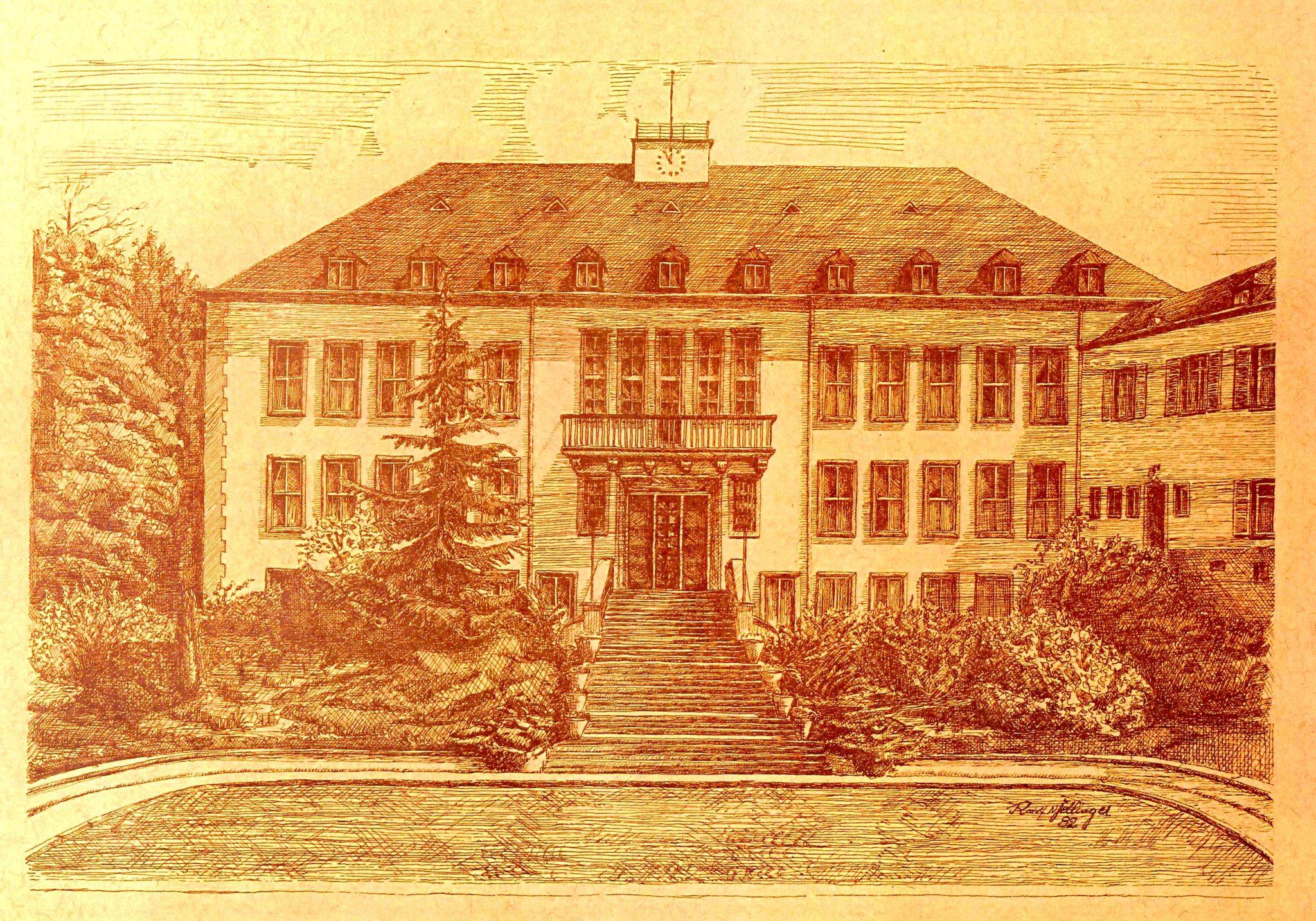 zu sehen ist die Bleistiftzeichnung des Bouser Rathauses von R. N. Fellinger