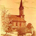 zu sehen ist die Katholische Kirche auf einer Zeichnung von R. N. Fellinger