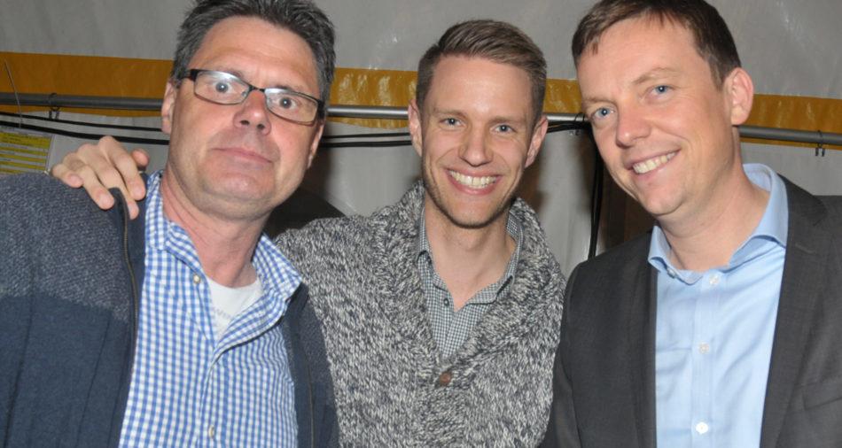 zu sehen ist von links nach rechts Uwe Armbruester, Beigeordneter Patri Waldraff sowie Ministerpraesident Tobias Hans